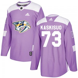 Men's Nashville Predators Kasimir Kaskisuo Adidas Authentic Fights Cancer Practice Jersey - Purple