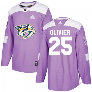 Men's Nashville Predators Mathieu Olivier Adidas Authentic Fights Cancer Practice Jersey - Purple