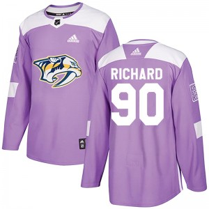 Men's Nashville Predators Anthony Richard Adidas Authentic Fights Cancer Practice Jersey - Purple