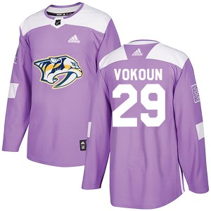 Men's Nashville Predators Tomas Vokoun Adidas Authentic Fights Cancer Practice Jersey - Purple