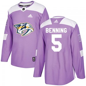 Youth Nashville Predators Matt Benning Adidas Authentic Fights Cancer Practice Jersey - Purple