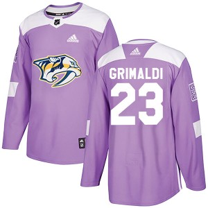 Youth Nashville Predators Rocco Grimaldi Adidas Authentic Fights Cancer Practice Jersey - Purple