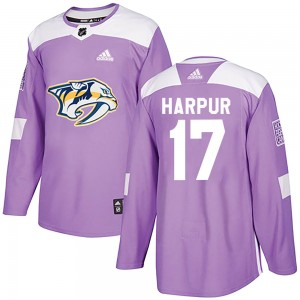 Youth Nashville Predators Ben Harpur Adidas Authentic Fights Cancer Practice Jersey - Purple