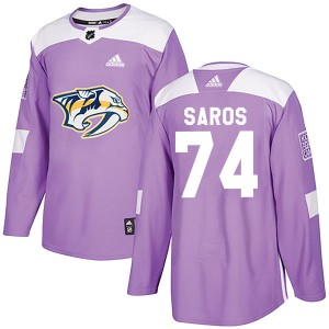 Youth Nashville Predators Juuse Saros Adidas Authentic Fights Cancer Practice Jersey - Purple