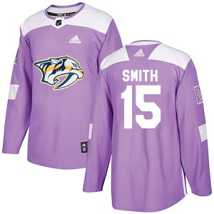 Youth Nashville Predators Craig Smith Adidas Authentic Fights Cancer Practice Jersey - Purple