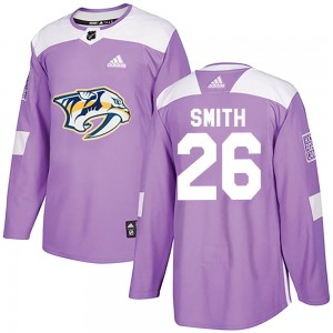 Youth Nashville Predators Cole Smith Adidas Authentic ized Fights Cancer Practice Jersey - Purple