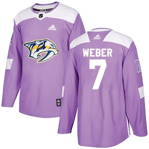 Youth Nashville Predators Yannick Weber Adidas Authentic Fights Cancer Practice Jersey - Purple