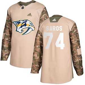 Men's Nashville Predators Juuse Saros Adidas Authentic Veterans Day Practice Jersey - Camo
