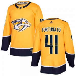 Men's Nashville Predators Brandon Fortunato Adidas Authentic Home Jersey - Gold