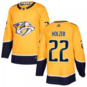 Men's Nashville Predators Korbinian Holzer Adidas Authentic ized Home Jersey - Gold