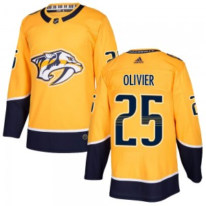 Men's Nashville Predators Mathieu Olivier Adidas Authentic Home Jersey - Gold