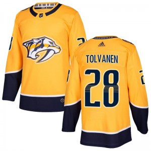 Men's Nashville Predators Eeli Tolvanen Adidas Authentic Home Jersey - Gold
