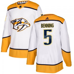 Youth Nashville Predators Matt Benning Adidas Authentic Away Jersey - White
