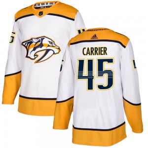 Youth Nashville Predators Alexandre Carrier Adidas Authentic ized Away Jersey - White