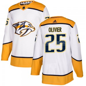 Youth Nashville Predators Mathieu Olivier Adidas Authentic Away Jersey - White