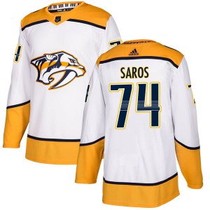 Youth Nashville Predators Juuse Saros Adidas Authentic Away Jersey - White