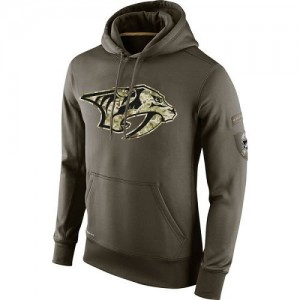 Men's Nashville Predators Nike Salute To Service KO Performance Hoodie - Olive