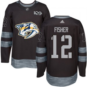 Men's Nashville Predators Mike Fisher Adidas Authentic 1917-2017 100th Anniversary Jersey - Black