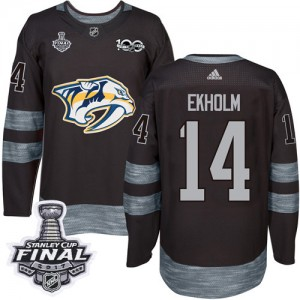 Men's Nashville Predators Mattias Ekholm Adidas Authentic 1917-2017 100th Anniversary 2017 Stanley Cup Final Jersey - Black