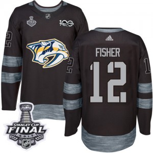 Men's Nashville Predators Mike Fisher Adidas Authentic 1917-2017 100th Anniversary 2017 Stanley Cup Final Jersey - Black