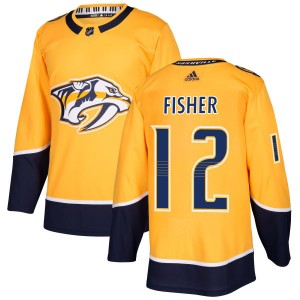 Men's Nashville Predators Mike Fisher Adidas Authentic Jersey - Gold