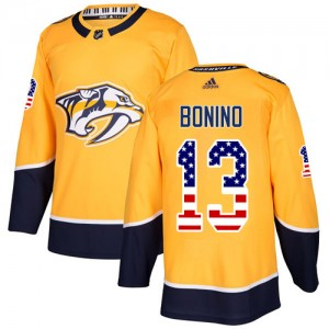Men's Nashville Predators Nick Bonino Adidas Authentic USA Flag Fashion Jersey - Gold
