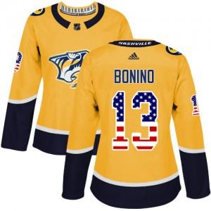 Women's Nashville Predators Nick Bonino Adidas Authentic USA Flag Fashion Jersey - Gold