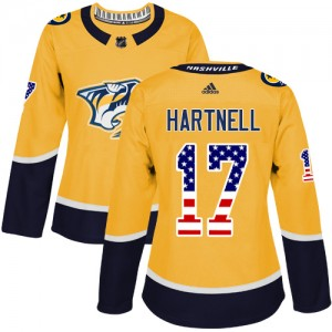 Women's Nashville Predators Scott Hartnell Adidas Authentic USA Flag Fashion Jersey - Gold