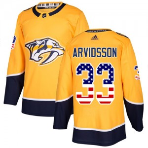 Men's Nashville Predators Viktor Arvidsson Adidas Authentic USA Flag Fashion Jersey - Gold