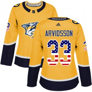 Women's Nashville Predators Viktor Arvidsson Adidas Authentic USA Flag Fashion Jersey - Gold