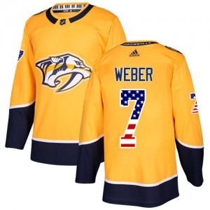 Men's Nashville Predators Yannick Weber Adidas Authentic USA Flag Fashion Jersey - Gold