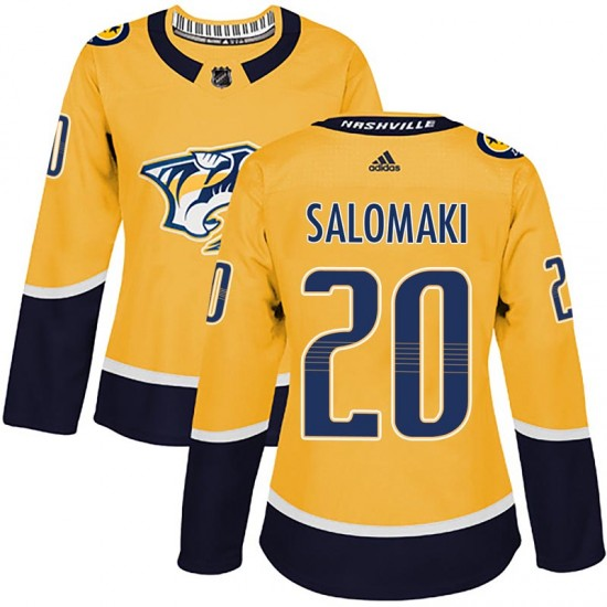 Women's Nashville Predators Miikka Salomaki Adidas Authentic Home Jersey - Gold