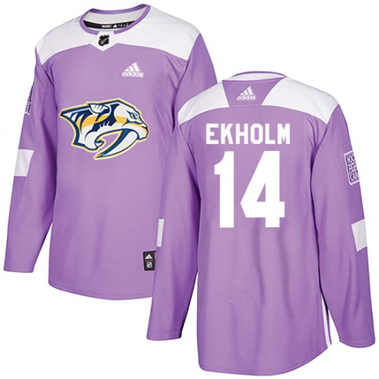Men's Nashville Predators Mattias Ekholm Adidas Authentic Fights Cancer Practice Jersey - Purple