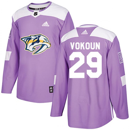Youth Nashville Predators Tomas Vokoun Adidas Authentic Fights Cancer Practice Jersey - Purple