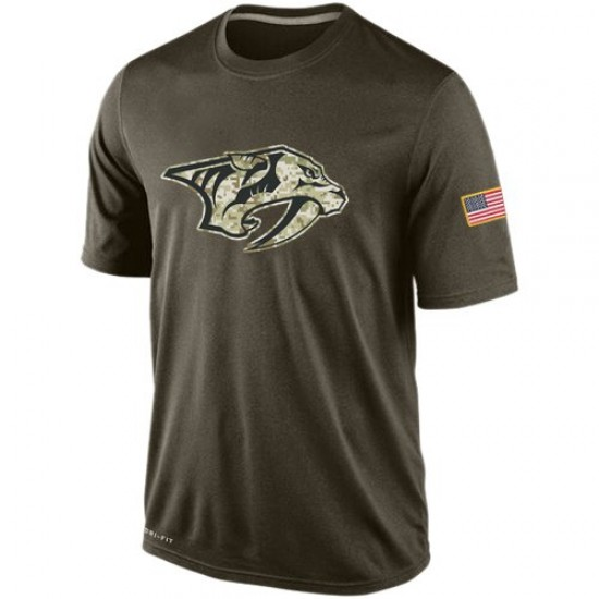 Men's Nashville Predators Nike Salute To Service KO Performance Dri-FIT T-Shirt - Olive